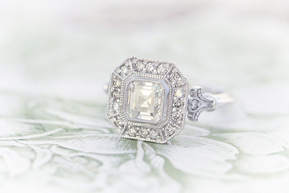 Asscher moissanite ring