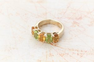 9ct yellow gold peridot and citrine ring